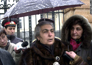 The Sargsyan's mother, Greta, staged a protest.