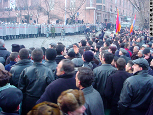 Police turned back demonstators who tried to reach the Presidential residence  Wednesday.